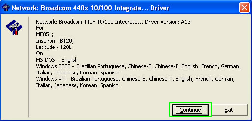 "e) Device Driver InstallShield Wizard ""Broadcom Network Driver"""