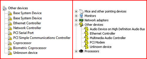 a) Example of a PC Device Manager with Devices with Missing Drivers